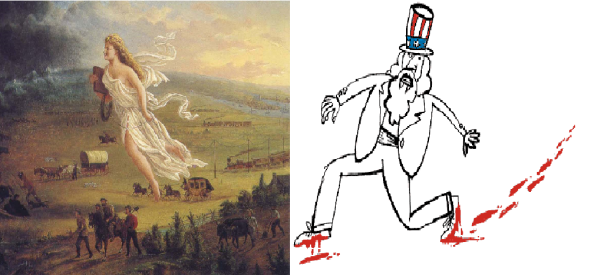 "On the left, the symbol of manifest destiny, the lady in white known as ""Columbia"" who enlightens ignorants and spreads civilization according to the American model. On the right, the symbol of the US government, known as Uncle Sam, taking bloody steps."