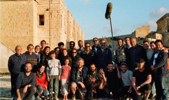 A group shot of the film crew in Malta